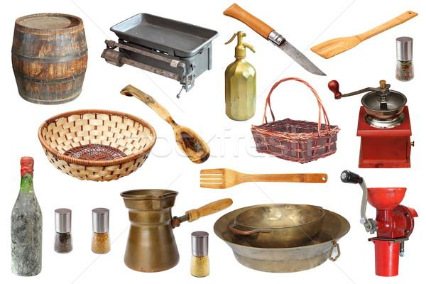 Vintage cozinha objetos coleção isolado branco Foto stock © taviphoto