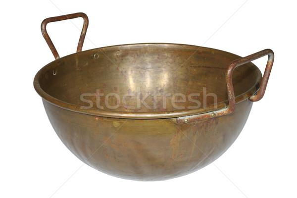 Antigo resistiu cobre pote isolado branco Foto stock © taviphoto