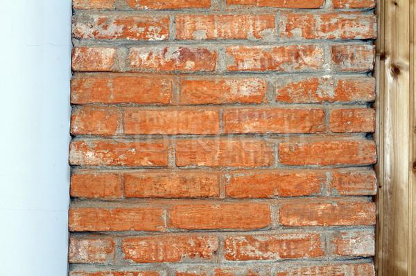 Czerwony cegły komin wnętrza szczegół domu Zdjęcia stock © taviphoto