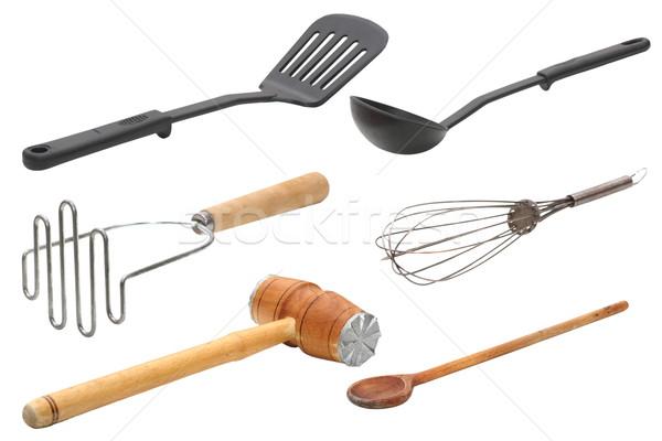 Cozinha utensílios coleção isolado branco madeira Foto stock © taviphoto