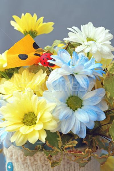 Aranyos egyezség virágok virágmintás citromsárga kék Stock fotó © taviphoto
