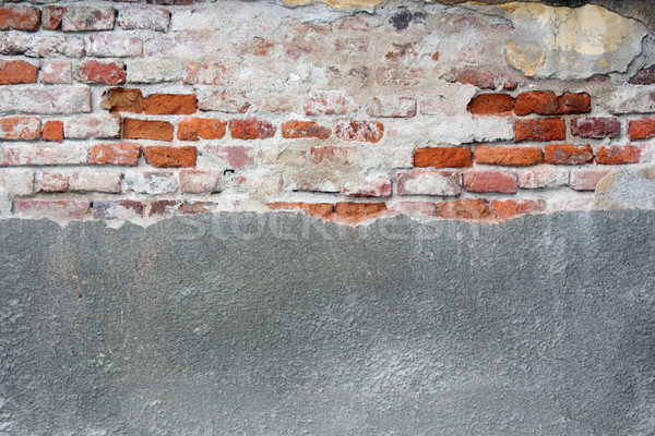 old cracked wall with cement and bricks Stock photo © taviphoto