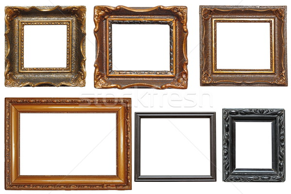 Stock photo: collection of very old painting frames