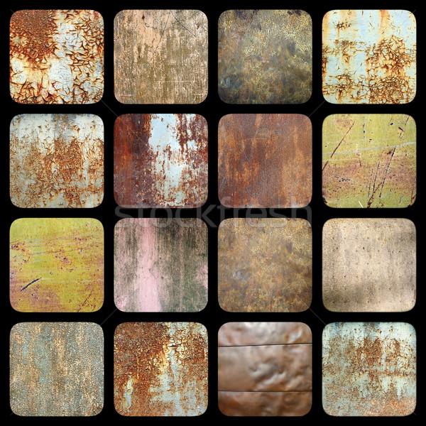 Raccolta interessante arrugginito metal texture Foto d'archivio © taviphoto