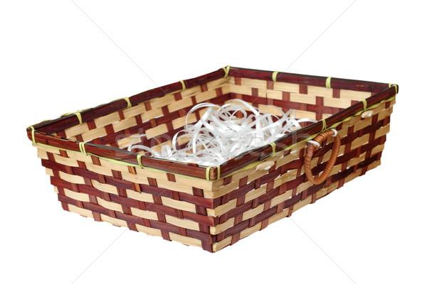 wattle basket on white Stock photo © taviphoto