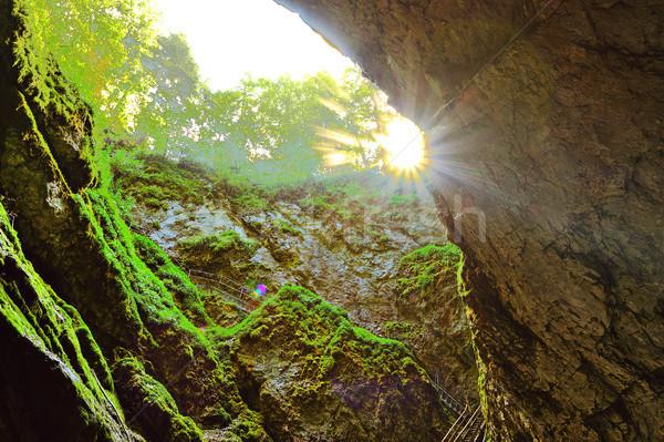 Wejście jaskini charakter śniegu górskich zielone Zdjęcia stock © taviphoto