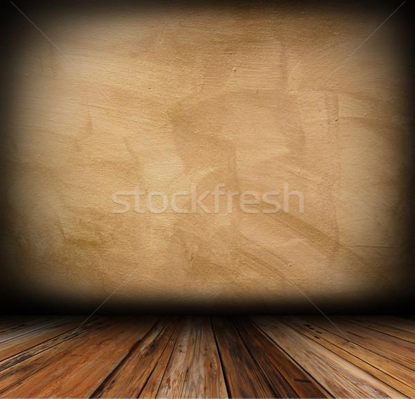 Yeso pared piso de madera arquitectónico vacío textura Foto stock © taviphoto