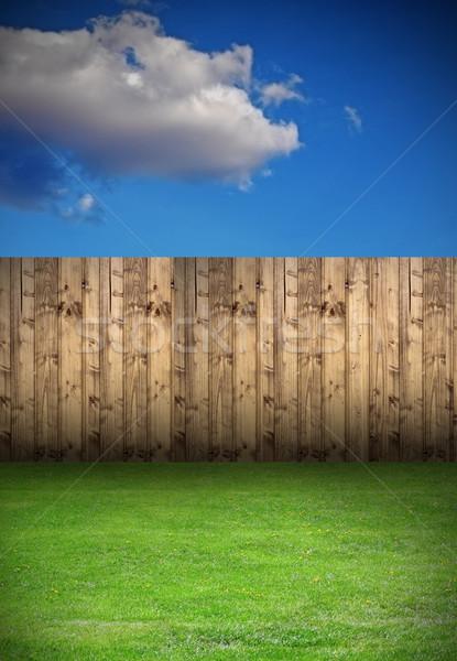 Udvar fából készült kerítés üres háttér terv Stock fotó © taviphoto