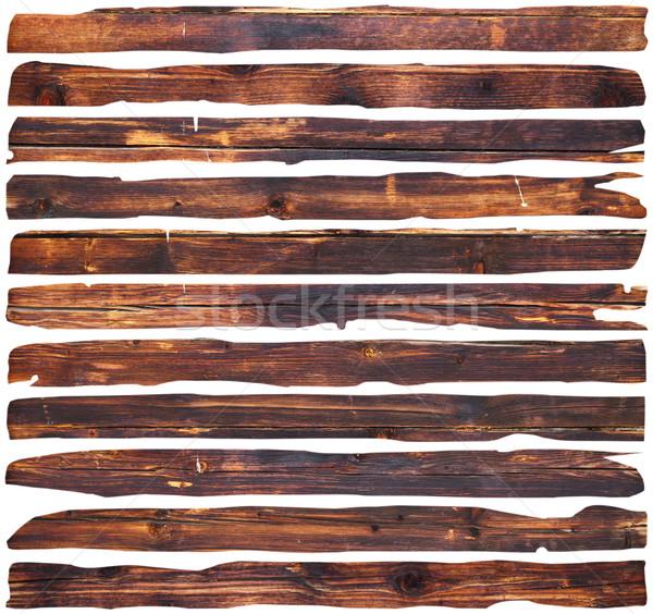 Stockfoto: Witte · bruin · beschadigd · stukken · geïsoleerd