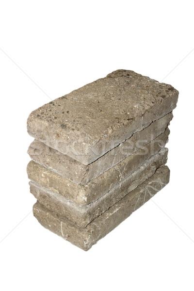 Oude verweerde bakstenen hoop geïsoleerd witte Stockfoto © taviphoto