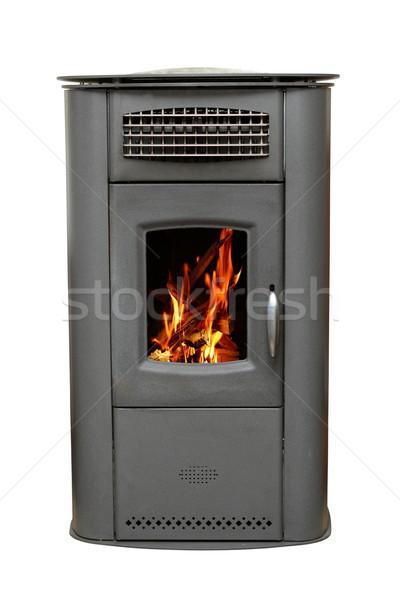 Vasaló tűzhely égő tűz fa izolált Stock fotó © taviphoto