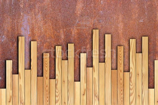 Piso de madera instalación nuevos Rusty superficie Foto stock © taviphoto