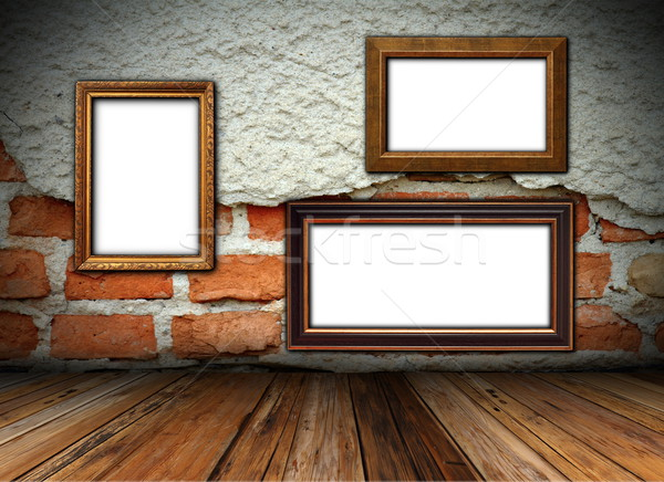 cracked wall with frames Stock photo © taviphoto