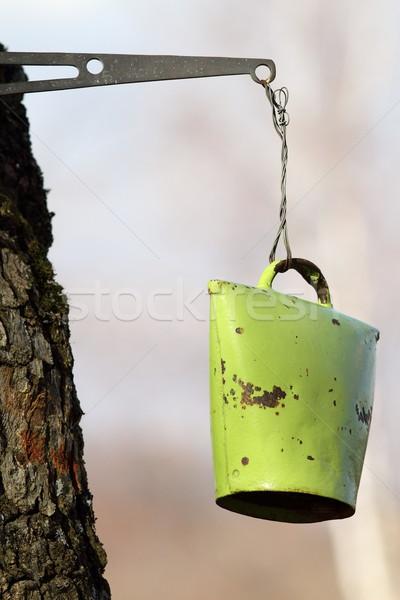Stockfoto: Oude · bel · groene · geschilderd · roestige · opknoping