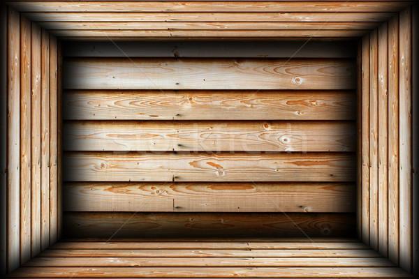 Bruin hout afgewerkt interieur klaar muur Stockfoto © taviphoto