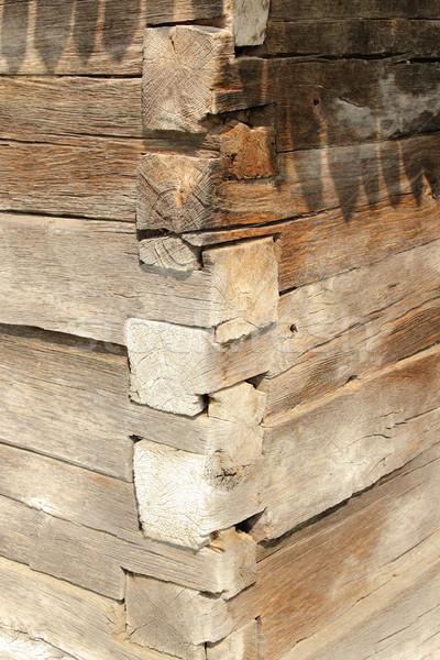 Kereszteződés hagyományos épület külső román fából készült Stock fotó © taviphoto