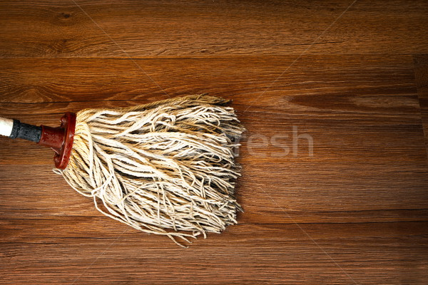 detail of mop cleaning on wood floor Stock photo © taviphoto