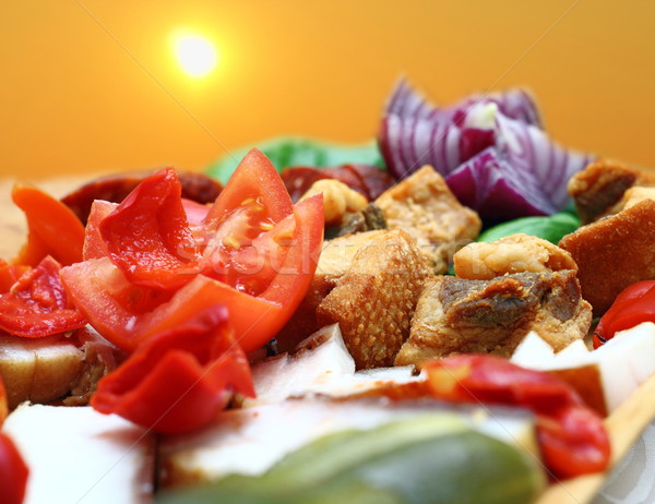 Rumeno tradizionale antipasto carne di maiale carne cipolla Foto d'archivio © taviphoto