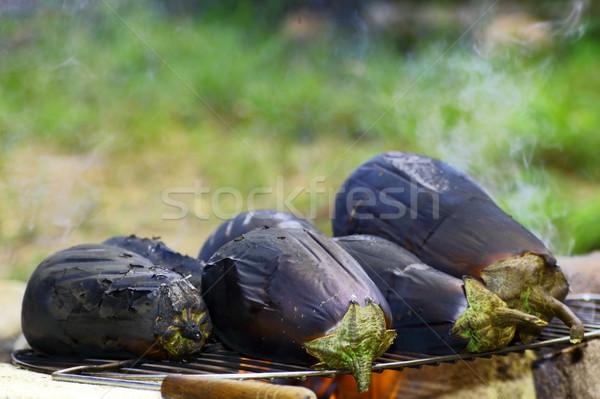Сток-фото: овощей · гриль · фрукты · фон · лет · черный