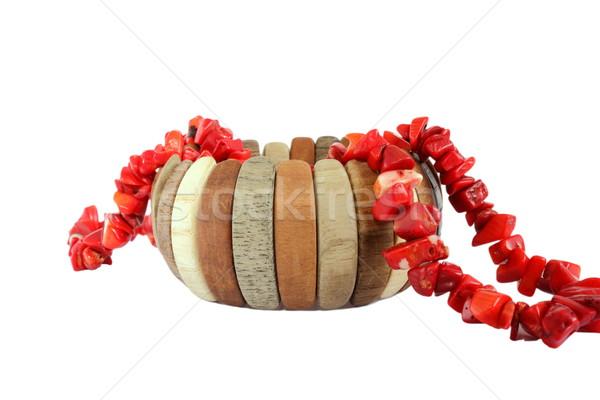 Báj karkötő nyaklánc piros izolált fehér Stock fotó © taviphoto