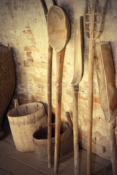 ancient wooden agricultural tools Stock photo © taviphoto