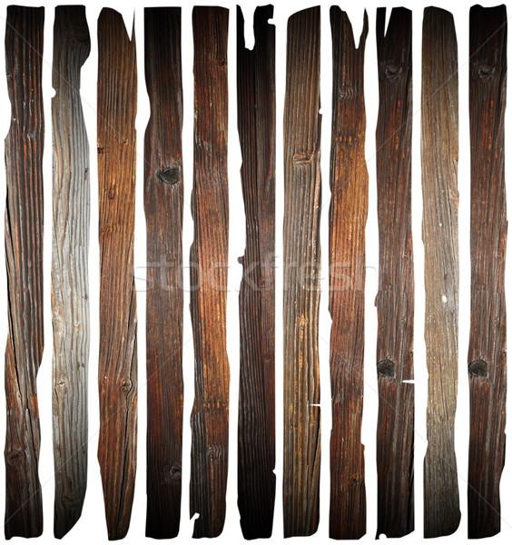 Starych uszkodzony drewna biały odizolowany Zdjęcia stock © taviphoto
