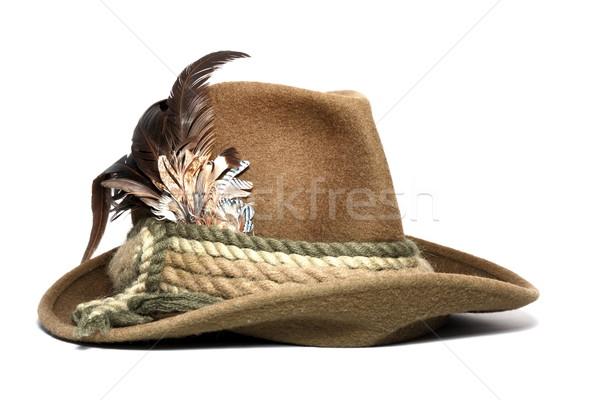 ヴィンテージ 狩猟 帽子 装飾された 羽毛 ストックフォト © taviphoto