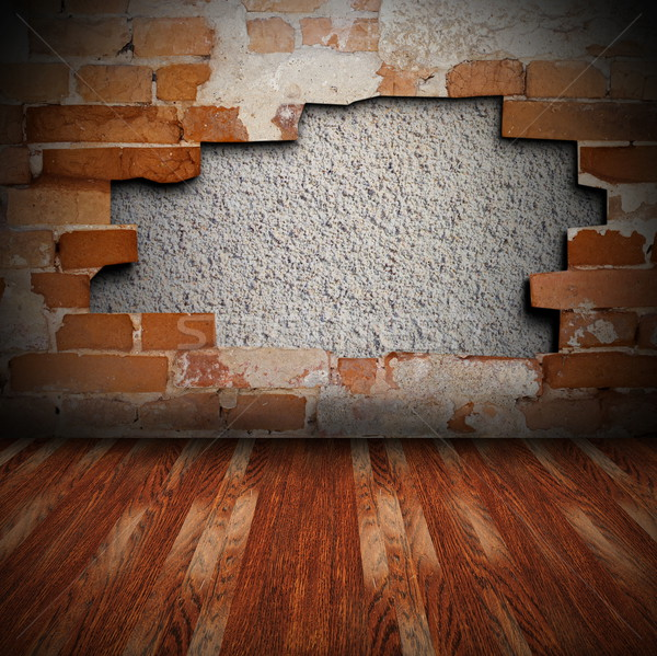 cracked wall and wooden floor Stock photo © taviphoto