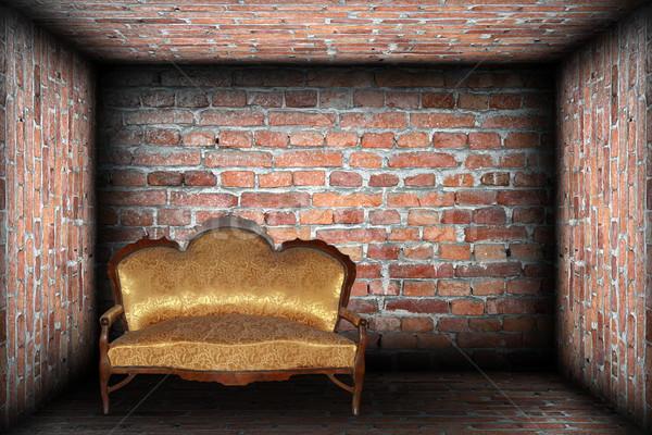 Stockfoto: Sofa · baksteen · afgewerkt · kamer · abstract · lege