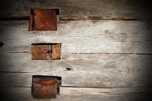 Kreuzung Wand alten Eiche Holz Stock foto © taviphoto