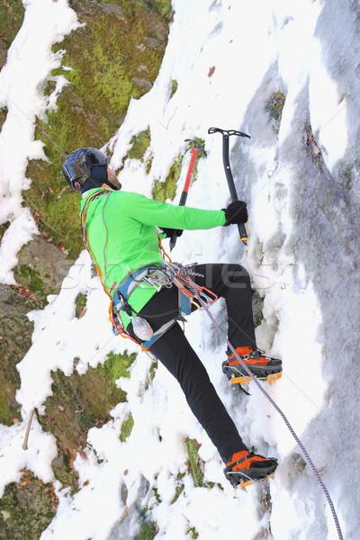 льда скалолазания зима человека зеленый стены Сток-фото © taviphoto