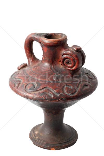 Traditioneel kandelaar bruin klei geïsoleerd witte Stockfoto © taviphoto