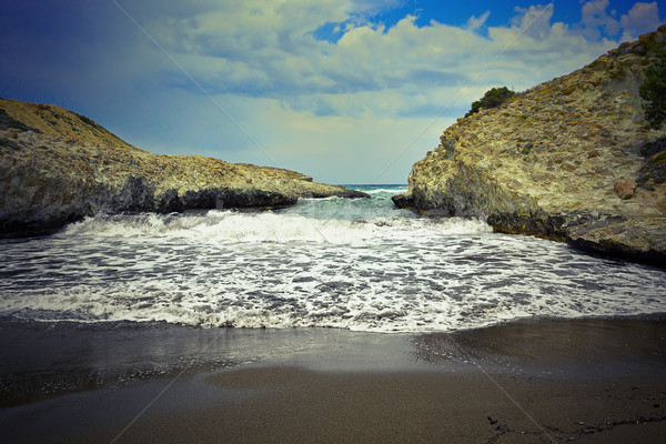 Stock fotó: Részlet · tengerpart · sziget · Görögország · szeles · nap