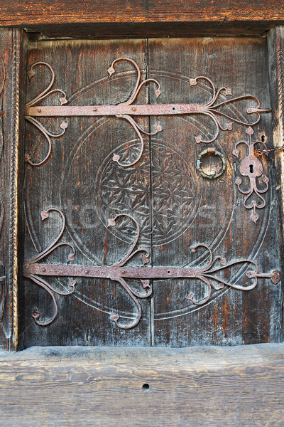 old wooden door with carved metal handle Stock photo © taviphoto