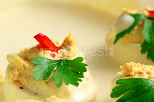 Huevos mayonesa relleno verde perejil alimentos Foto stock © taviphoto