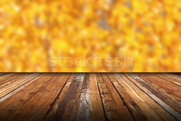 wooden terrace with view to the autumn forest Stock photo © taviphoto