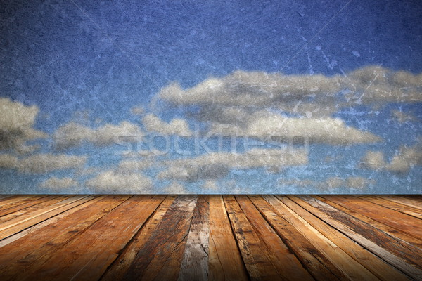 abstract scratched backdrop with wood terrace Stock photo © taviphoto