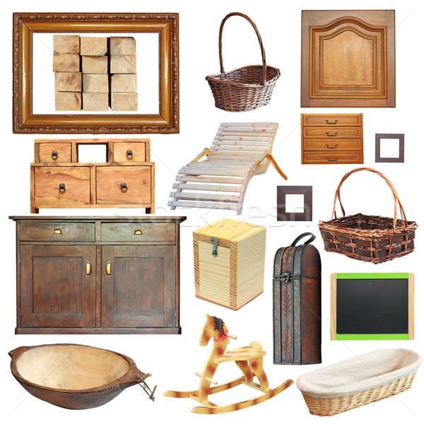 collection of isolated old wooden objects Stock photo © taviphoto