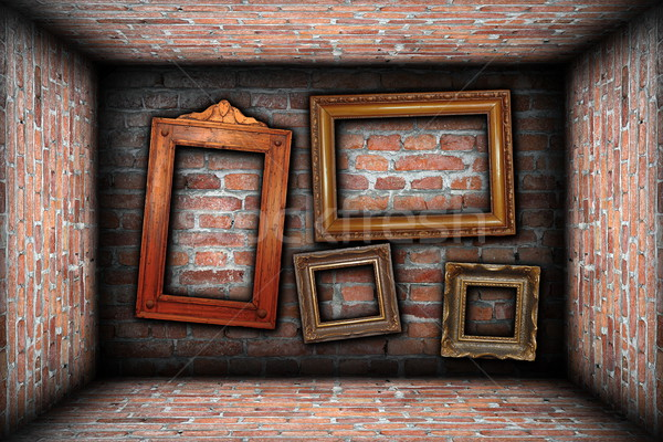 vintage room interior backdrop with ancient frames Stock photo © taviphoto