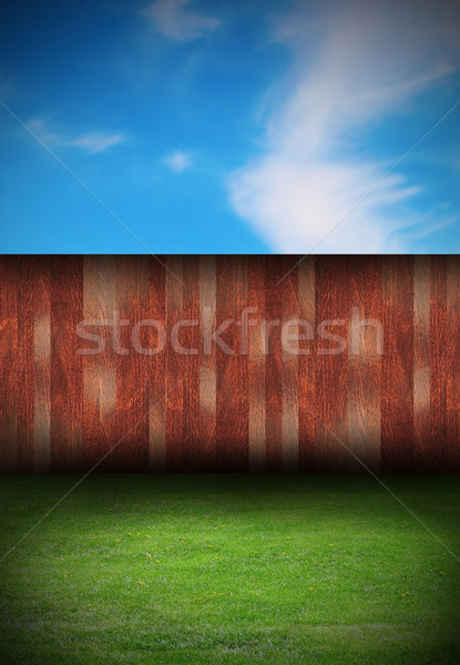 Stock photo: abstract backyard with wood fence