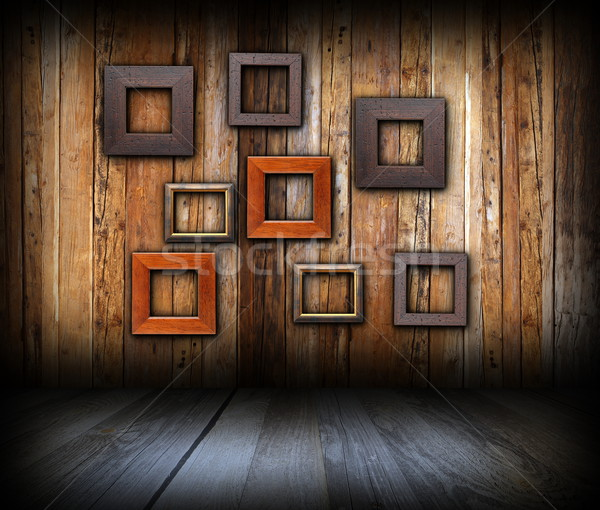 abstract frames on wooden wall Stock photo © taviphoto