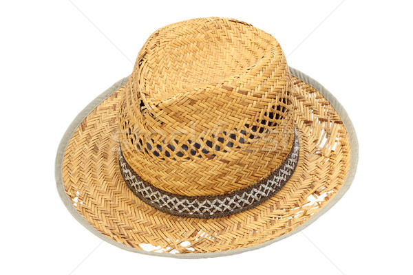old damaged wicker hat over white Stock photo © taviphoto