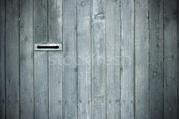Stockfoto: Mailbox · hek · grijs · sparren · plank · interessant