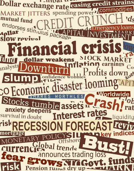 Finansal kriz haber başlıkları düzenlenebilir vektör dizayn gazete Stok fotoğraf © Tawng