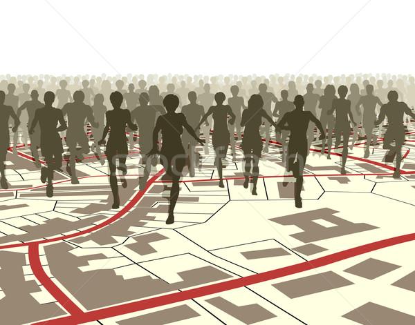 Város fut szerkeszthető tömeg emberek fut Stock fotó © Tawng