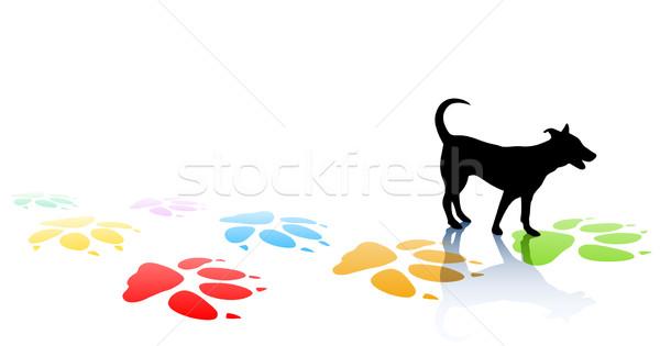 Perrito jóvenes perro silueta colorido Foto stock © Tawng