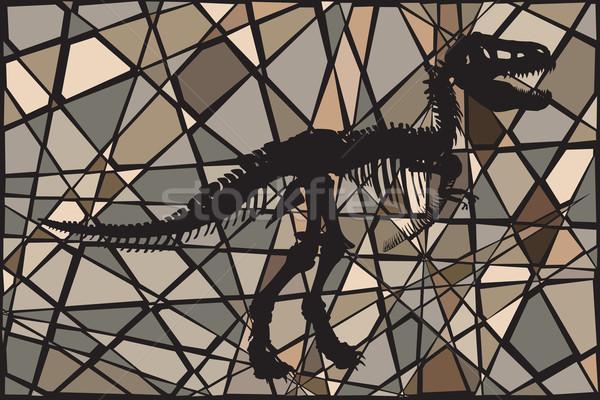 Dinoszaurusz kövület szerkeszthető vektor mozaik illusztráció Stock fotó © Tawng
