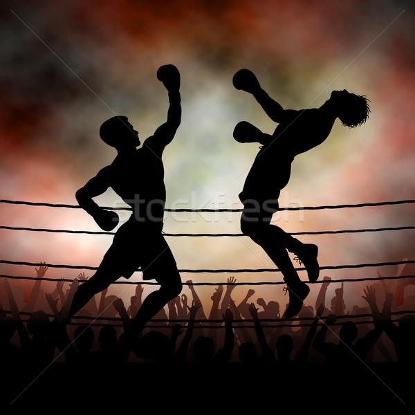 Vecteur silhouette boxeur sur adversaire Photo stock © Tawng