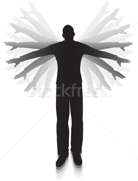 Flug editierbar Vektor Silhouette Mann Arme Stock foto © Tawng
