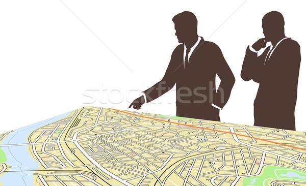 Város szerkeszthető két férfi áll általános térkép Stock fotó © Tawng